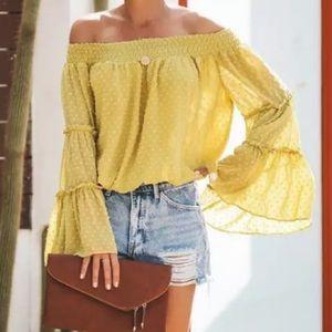🌻 Sunflower Yellow Off Shoulder Top